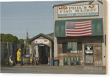 Phils Fish Market Moss Landing Wood Print by Artist and Photographer Laura Wrede