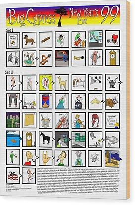 Phish Big Cypress Nye 99 Illustrated Setlist Wood Print by Josean Rivera
