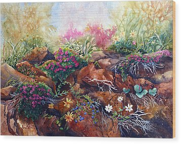 Phlox On The Rocks Wood Print