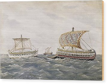 Phoenician And Assyrian Battle Ships Wood Print by Everett