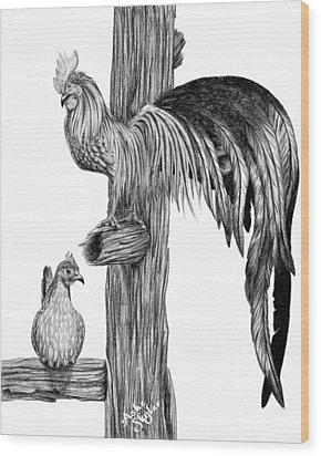 Phoenix Chicken Wood Print by Ashe Skyler