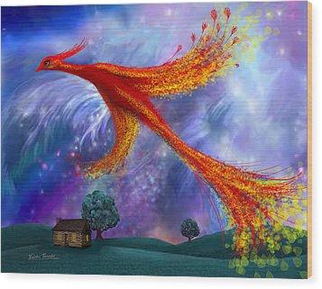 Phoenix Flying At Night Wood Print