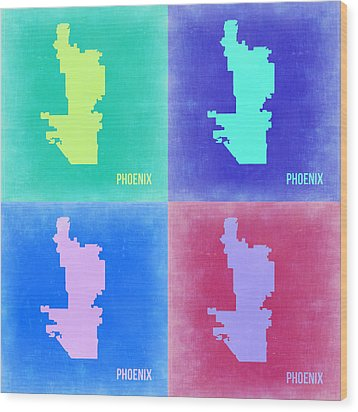 Phoenix Pop Art Map 1 Wood Print by Naxart Studio