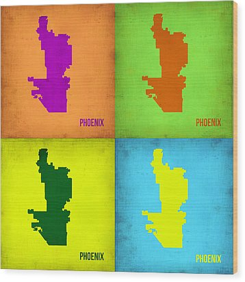 Phoenix Pop Art Map Wood Print by Naxart Studio