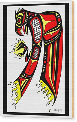 Phoenix Red And Yellow Wood Print by Speakthunder Berry