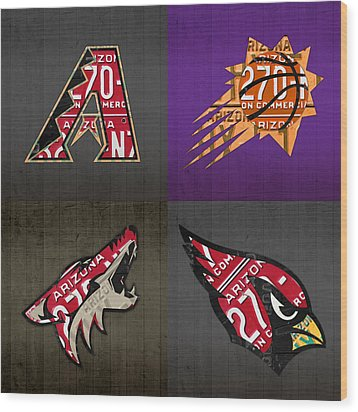 Phoenix Sports Fan Recycled Vintage Arizona License Plate Art Diamondbacks Suns Coyotes Cardinals Wood Print