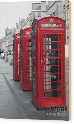 Phone Boxes On The Royal Mile Wood Print by Jane Rix