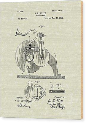 Phonograph 1892 Patent Art Wood Print by Prior Art Design