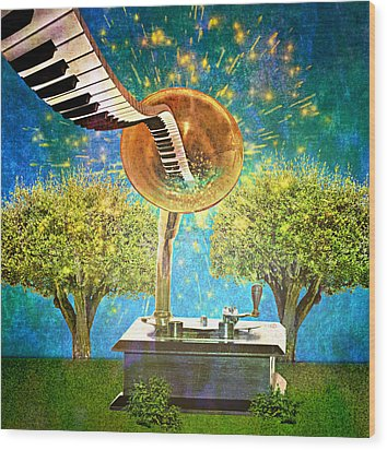 Phonograph Magic Wood Print by Ally  White