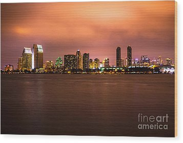 Photo Of San Diego At Night Wood Print by Paul Velgos