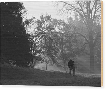 Wood Print featuring the photograph Photographer In The Mist by Ed Cilley