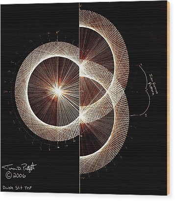 Photon Double Slit Test Hand Drawn Wood Print by Jason Padgett