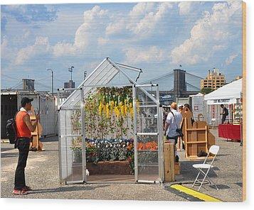 Photoville Under The Brooklyn Bridge Wood Print by Diane Lent