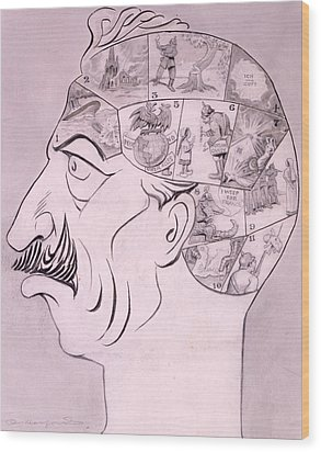 Phrenological Chart Of The German Wood Print by Oliver Herford