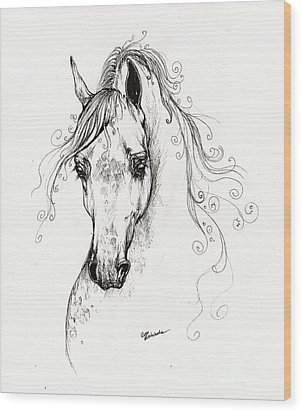 Piaff Polish Arabian Horse Drawing Wood Print by Angel  Tarantella