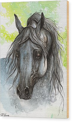 Piaff Polish Arabian Horse Watercolor  Painting 1 Wood Print by Angel  Tarantella
