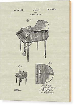 Piano 1937 Patent Art Wood Print