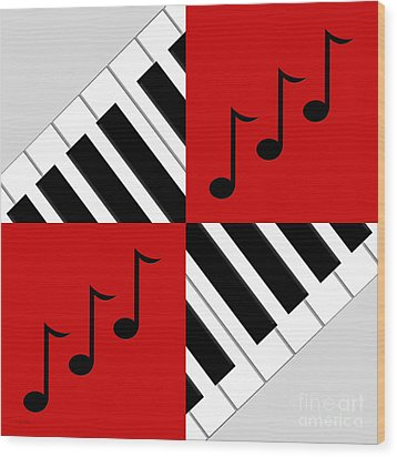 Piano Abstract 3 Wood Print by Andee Design