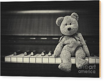 Piano Bear Wood Print by Tim Gainey