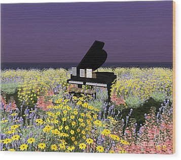 Wood Print featuring the digital art Piano In Spring by Susanne Baumann
