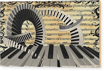 Piano Keys  Wood Print by Louis Ferreira