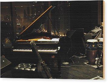 Piano Over Manhatten Wood Print