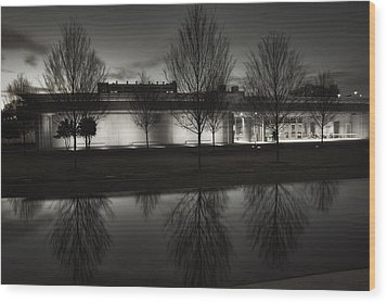 Piano Pavilion Bw Reflections Wood Print by Joan Carroll