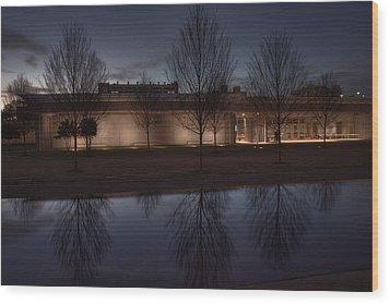 Piano Pavilion Night Reflections Wood Print by Joan Carroll