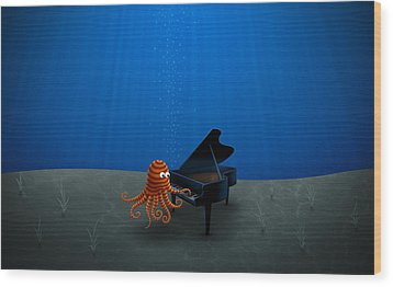 Piano Playing Octopus Wood Print by Gianfranco Weiss
