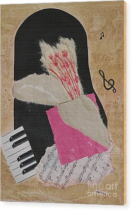 Wood Print featuring the painting Piano Still Life by Mini Arora