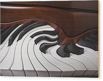 Piano Surrlistic Wood Print by Garry Gay