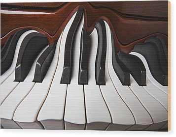 Piano Wave Wood Print by Garry Gay