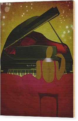 Pianochic Wood Print by Romaine Head