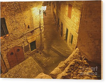 Piazza By Night In Tuscany Wood Print by Ramona Matei