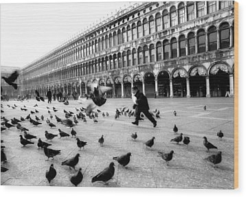 Piazza San Marco Venice Italy 1998 Wood Print by Heidi Wild