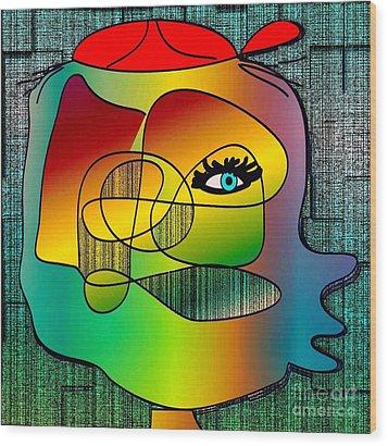 Picasso Inspired Cartoon Wood Print by Iris Gelbart