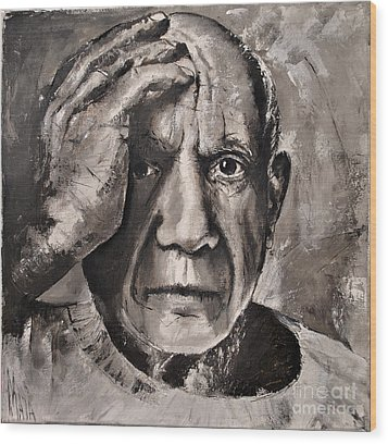 Portrait Of Pablo Picasso Wood Print by Maja Sokolowska
