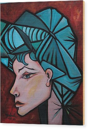 Wood Print featuring the painting Picassogirl by Yolanda Rodriguez