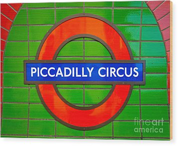Wood Print featuring the photograph Piccadilly Circus Tube Station by Luciano Mortula
