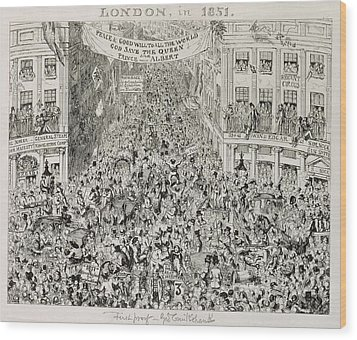 Piccadilly During The Great Exhibition Wood Print by George Cruikshank