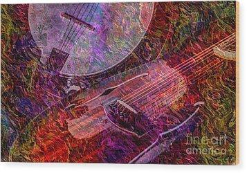 Pickin And A Grinnin Digital Banjo And Guitar Art By Steven Langston Wood Print by Steven Lebron Langston