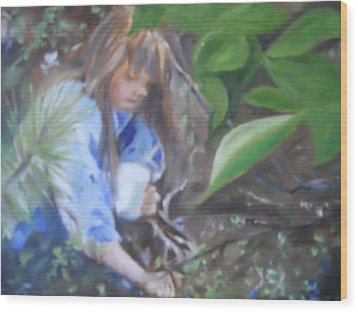Picking Blueberries Wood Print by Joyce Reid