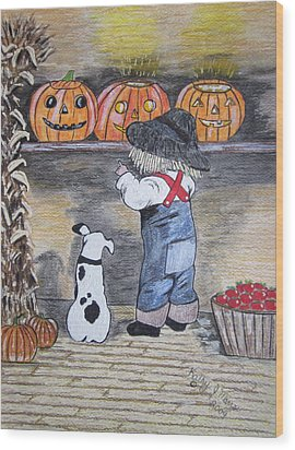 Picking Out The Halloween Pumpkin Wood Print by Kathy Marrs Chandler