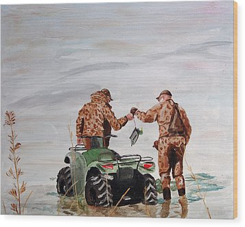 Picking Up The Decoys Wood Print by Kevin Callahan