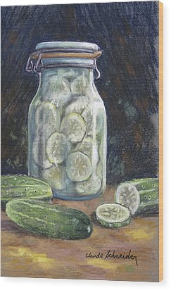 Pickled Cucumbers Wood Print by Claude Schneider