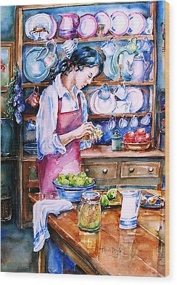 Wood Print featuring the painting Pickling Pears  by Trudi Doyle