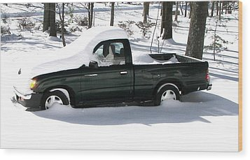 Wood Print featuring the photograph Pickup In The Snow by Pamela Hyde Wilson