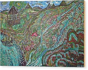 Picnic By The Lake Wood Print by Matthew  James