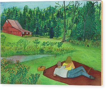 Picnic On The Farm Wood Print