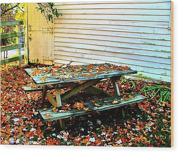 Picnic Table In Autumn Wood Print by Julie Dant